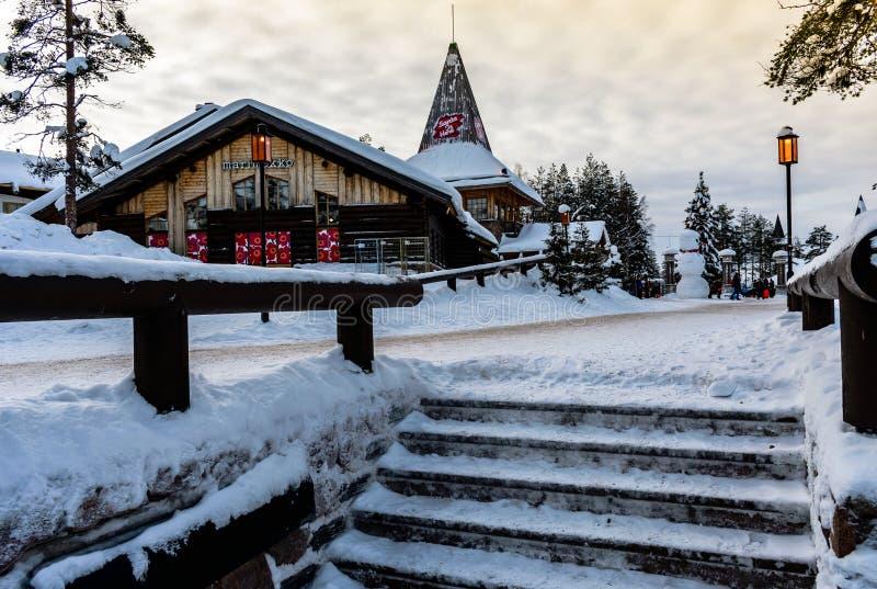 Villaggio del Babbo Natale - cerchio artico del rovaniemi- fotografie stock libere da diritti