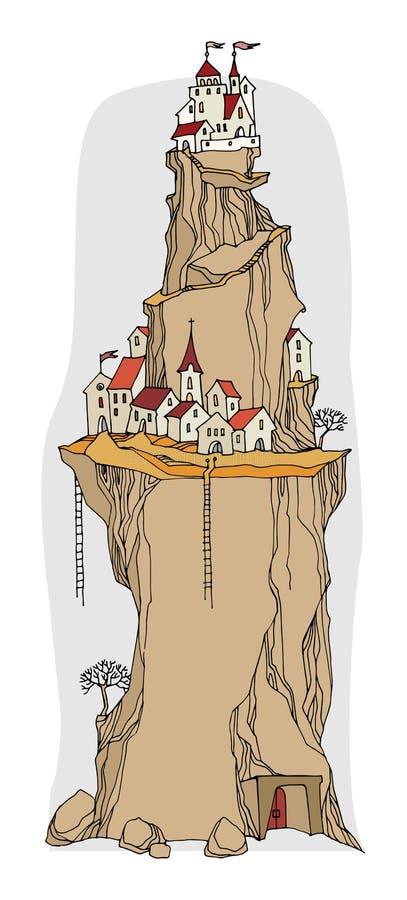 Villaggio del fumetto, fiaba illustrazione di stock