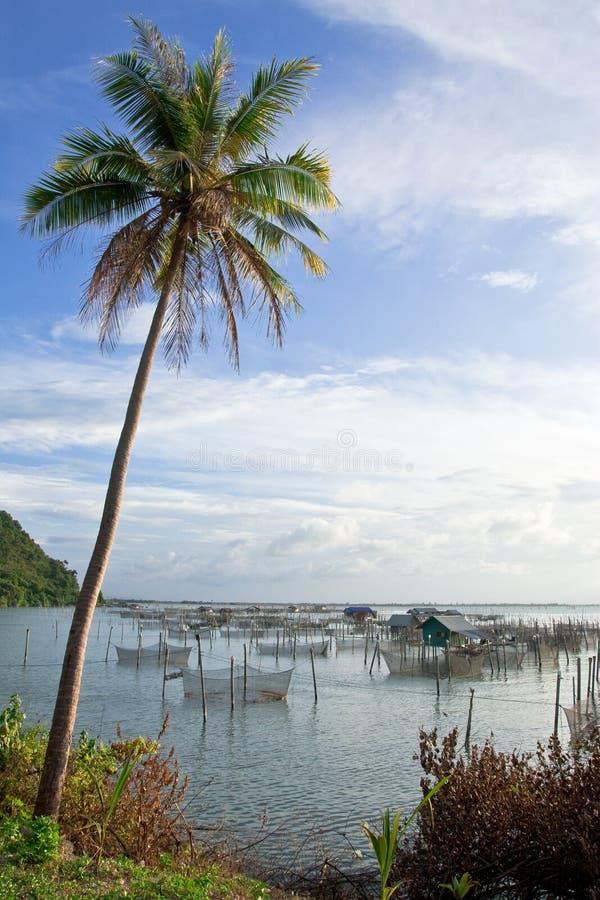 Villaggio del pescatore nel sud della Tailandia fotografia stock