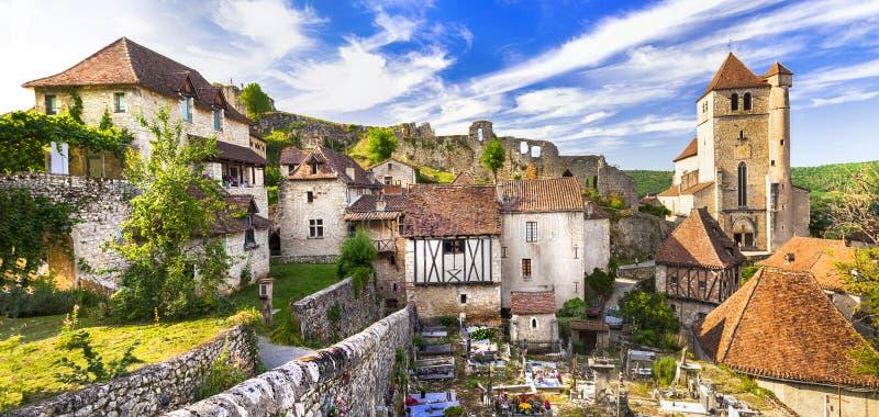 Villaggio del san-Cirq-Lapopie fotografia stock