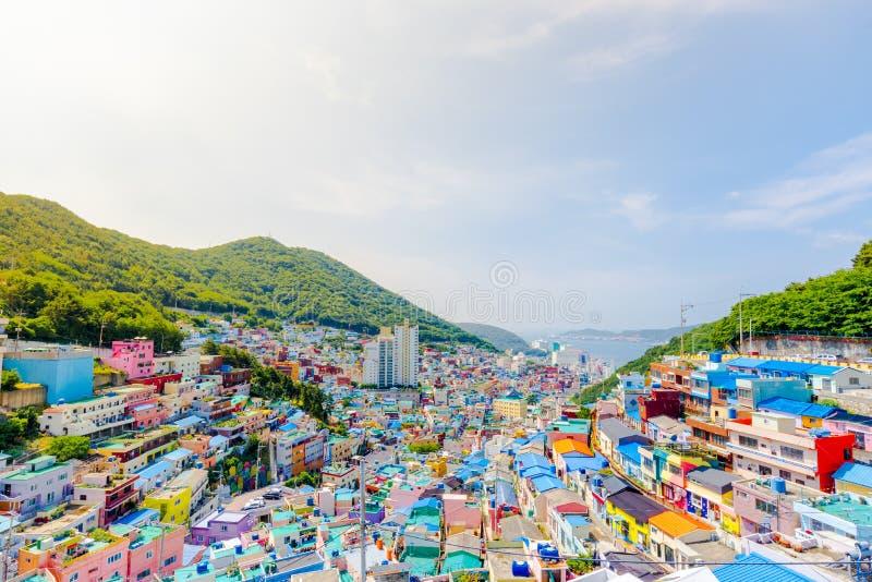 Villaggio della cultura di Gamcheon, Busan, Corea del Sud immagini stock libere da diritti