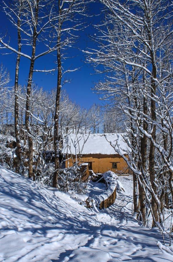 Villaggio della neve fotografie stock