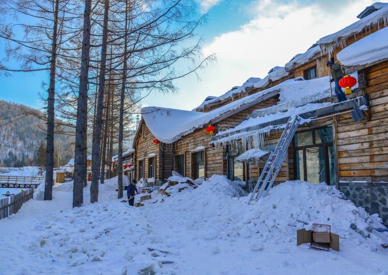 Villaggio della neve a Harbin, Cina immagine stock
