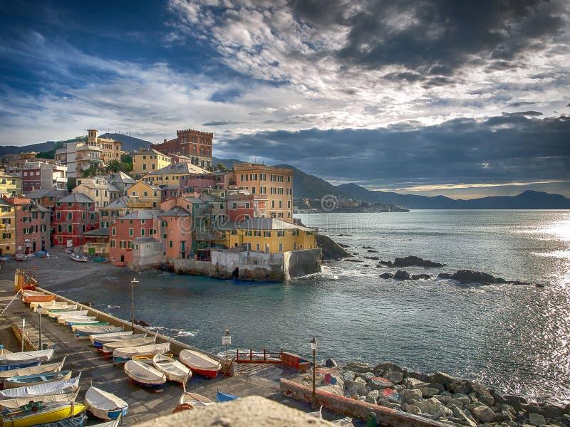 Villaggio di Boccadasse, Genova immagini stock libere da diritti