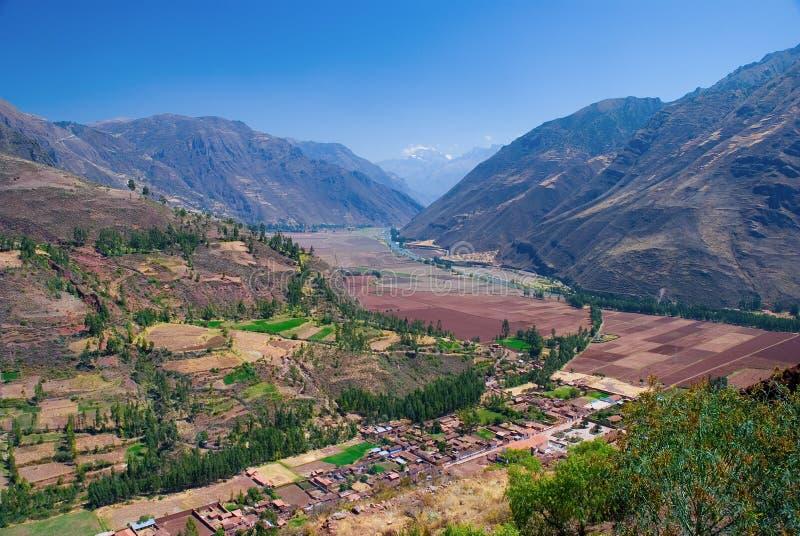 Villaggio di Coya, valle sacra, Cusco, Perù fotografia stock