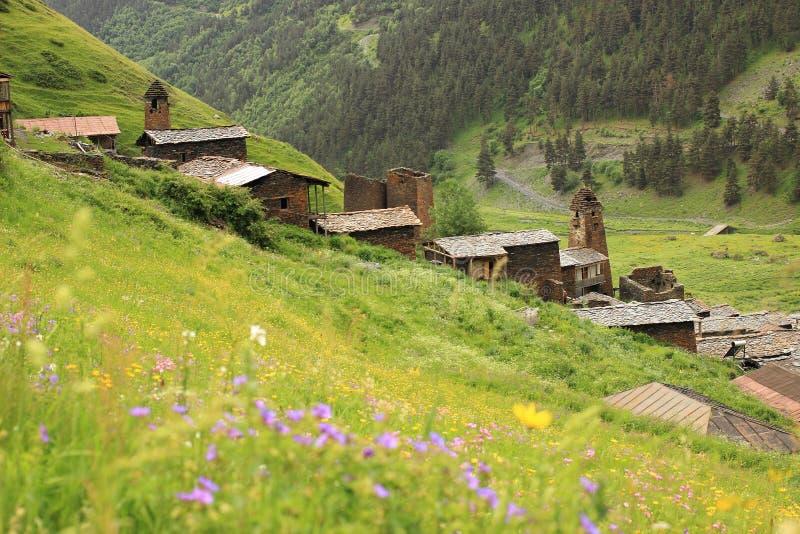 Villaggio di Dartlo Regione di Tusheti (Georgia) fotografie stock libere da diritti