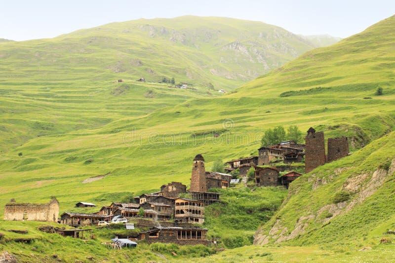 Villaggio di Dartlo Regione di Tusheti (Georgia) immagine stock libera da diritti