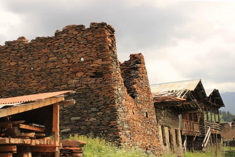 Villaggio di Diklo, regione di Tusheti (Georgia) immagini stock libere da diritti