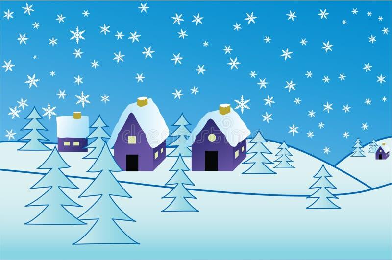 Villaggio di inverno illustrazione vettoriale