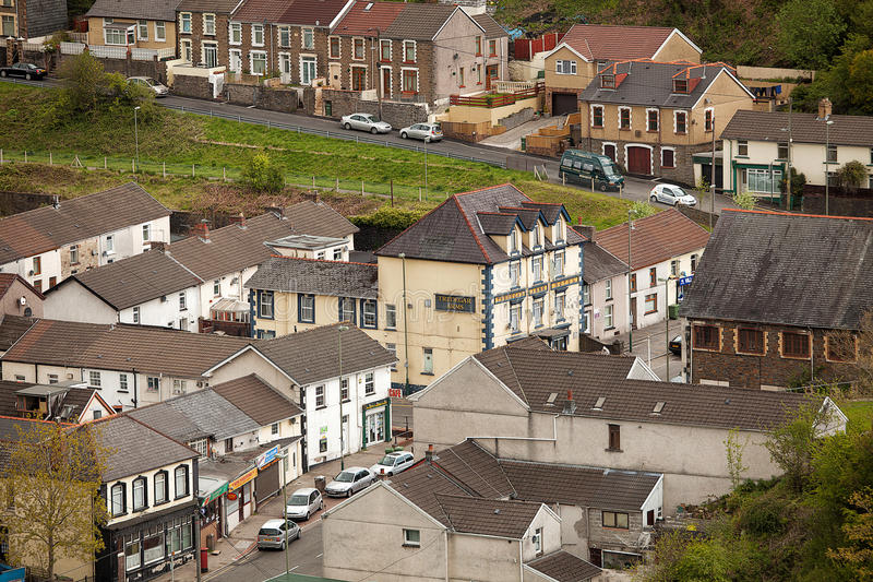 Villaggio di Lingua gallese di Cwmtwrch fotografia stock libera da diritti