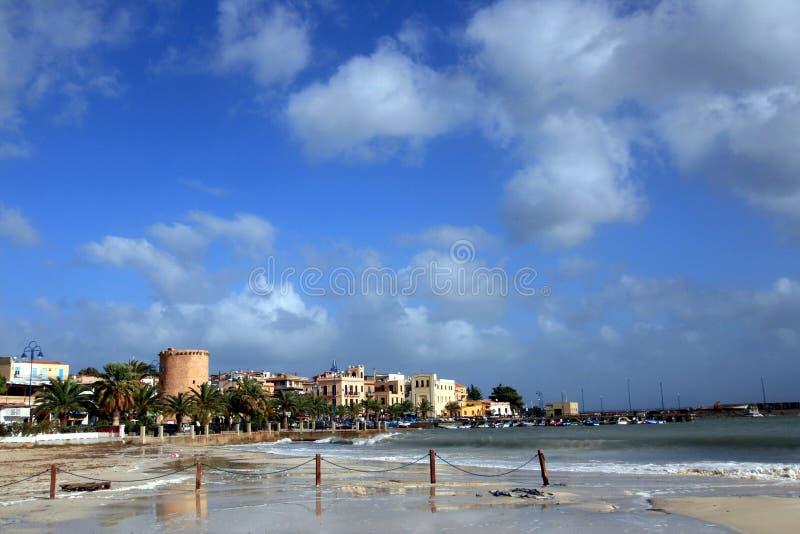 Villaggio di Mondello & spiaggia, Palermo - Italia fotografia stock