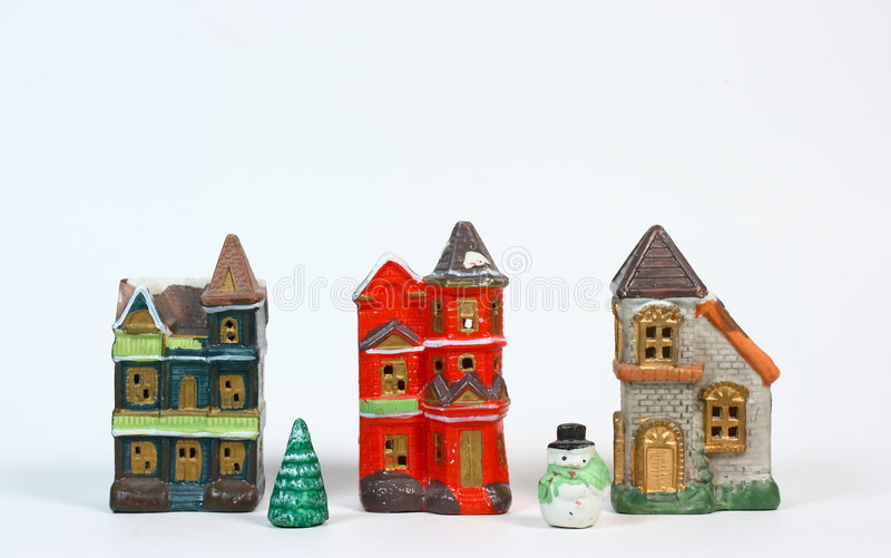 Download Villaggio Di Natale Su Bianco Immagine Stock - Immagine di finestre, ornamento: 7318781