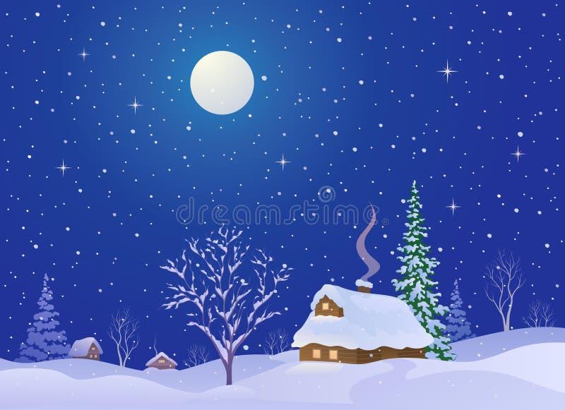 Villaggio di notte di Natale illustrazione di stock