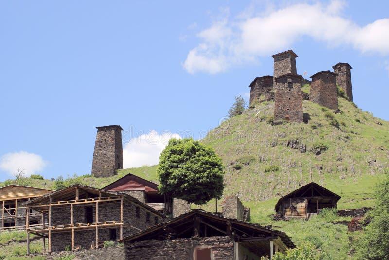 Villaggio di Omalo Regione di Tusheti (Georgia) fotografia stock