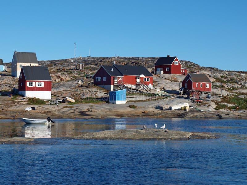 Villaggio di Oqaatsut, Groenlandia immagini stock