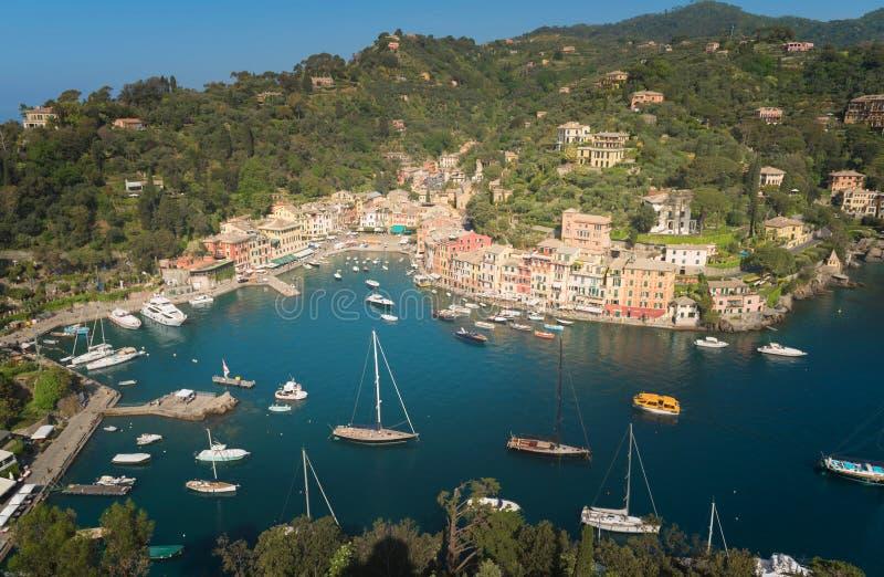Villaggio di Portofino sulla costa ligura immagine stock libera da diritti