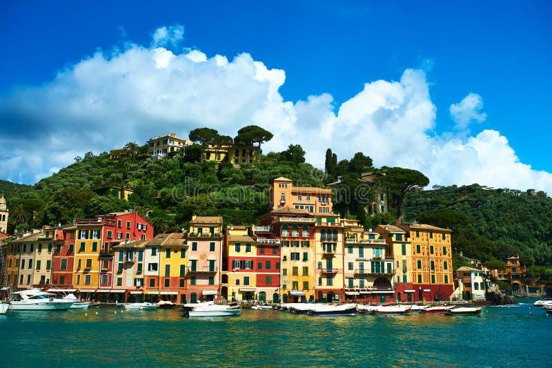 Villaggio di Portofino sulla costa ligura, Italia fotografia stock