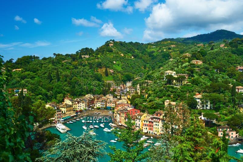 Villaggio di Portofino sulla costa ligura, Italia fotografie stock