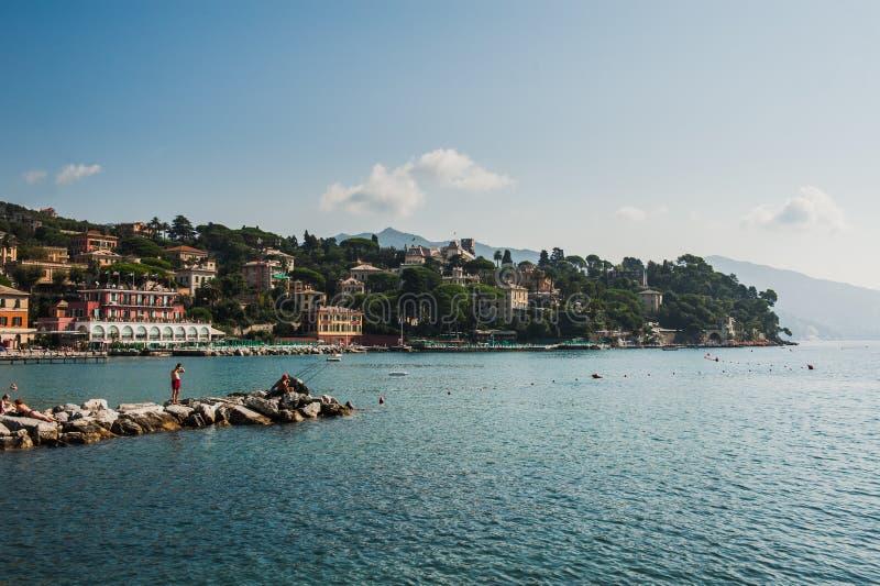 Villaggio di Portofino sulla costa ligura in Italia fotografia stock