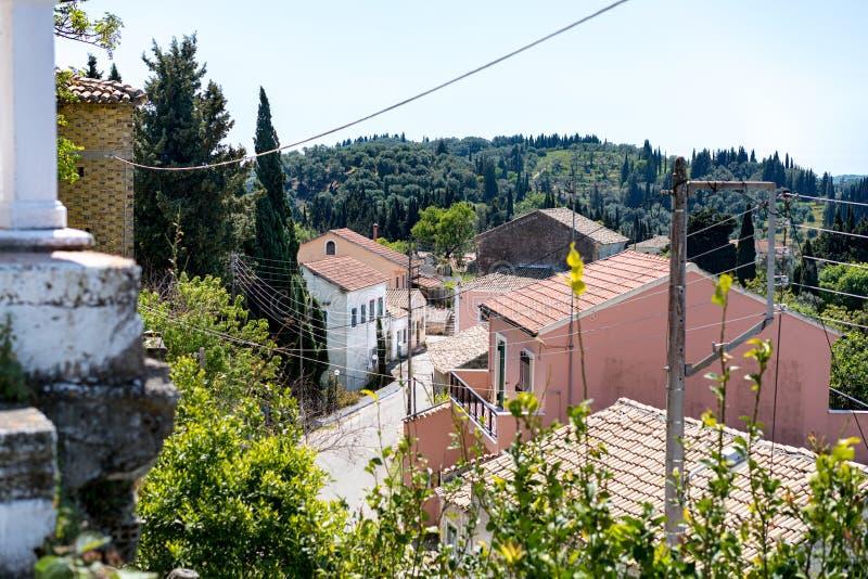 Villaggio di Rachtades a Corfù fotografia stock libera da diritti