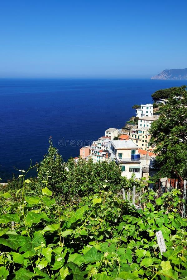 Villaggio di Riomaggiore, Cinque Terre, Italia immagini stock