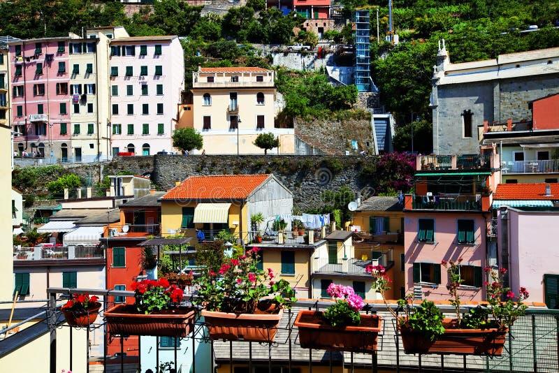 Villaggio di Riomaggiore, Cinque Terre, Italia fotografia stock