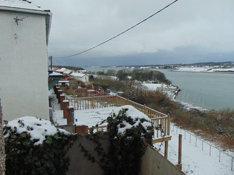 Villaggio di Snowy Lingua gallese fotografia stock libera da diritti