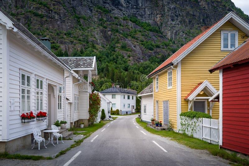 Villaggio di Solvorn, Norvegia fotografia stock