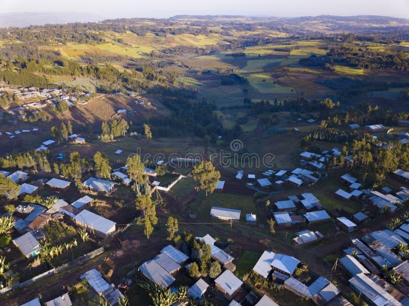 Villaggio etiopico aereo fotografia stock libera da diritti