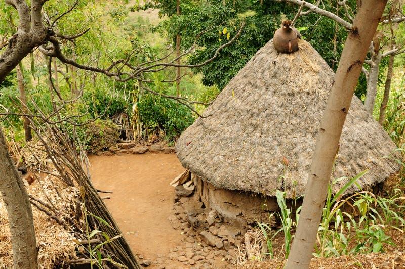 Villaggio etiopico in valle di Omo fotografie stock