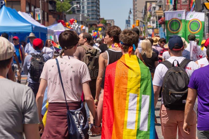 Villaggio gay di Toronto durante l'orgoglio 2019 immagini stock