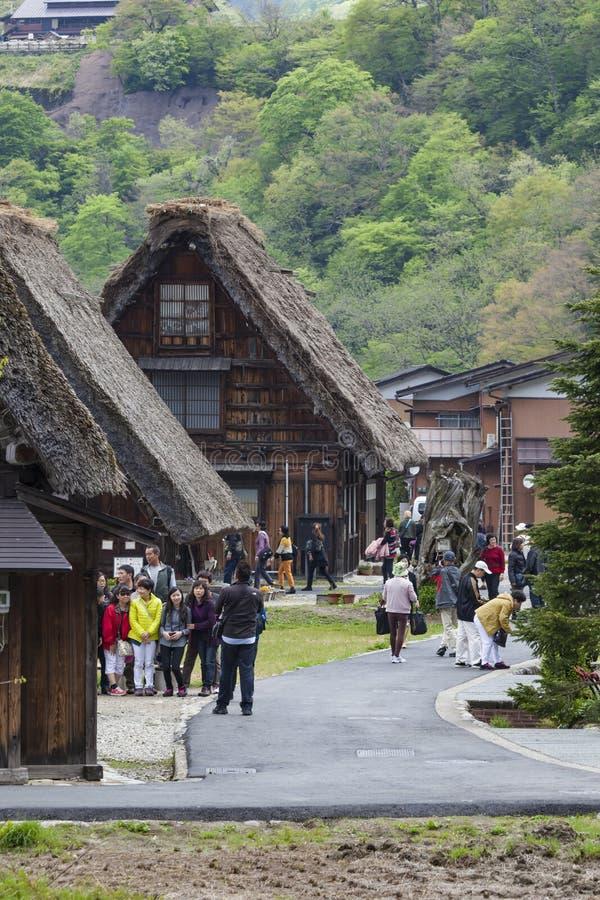 Villaggio giapponese tradizionale e storico Ogimachi - Shirakawa fotografie stock libere da diritti