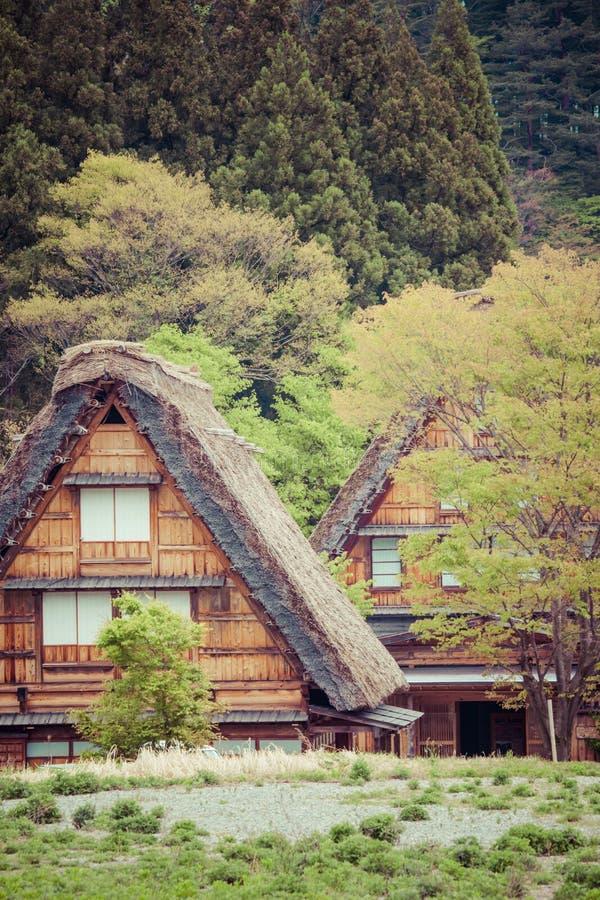 Villaggio giapponese tradizionale e storico Ogimachi - Shirakawa-va, il Giappone immagine stock libera da diritti