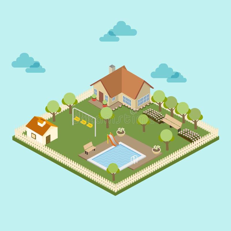 Villaggio isometrico con la piscina royalty illustrazione gratis