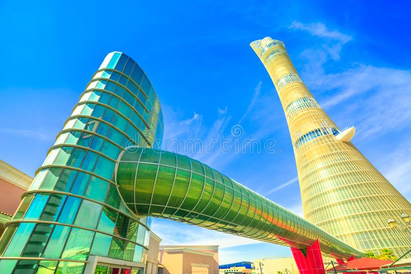 Villaggio Mall and Aspire Tower royalty free stock image