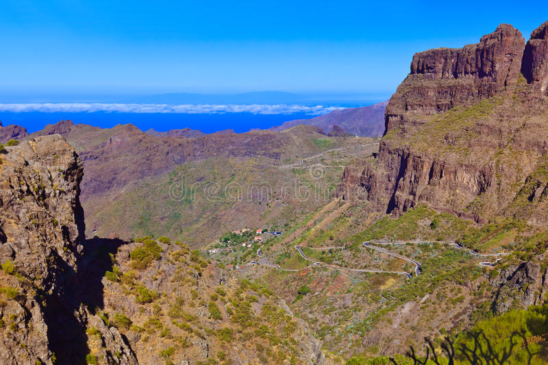 Villaggio Masca all'isola di Tenerife - canarino fotografia stock