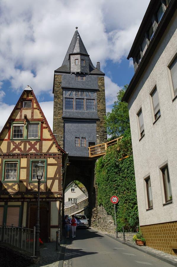 Villaggio medievale Bacharach Strutture tradizionali Fachwerk h immagini stock libere da diritti
