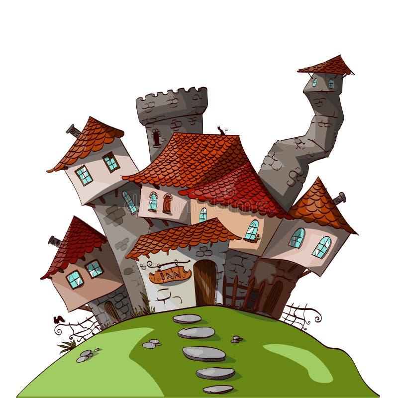 Villaggio medievale di fantasia di piccolo vettore illustrazione di stock