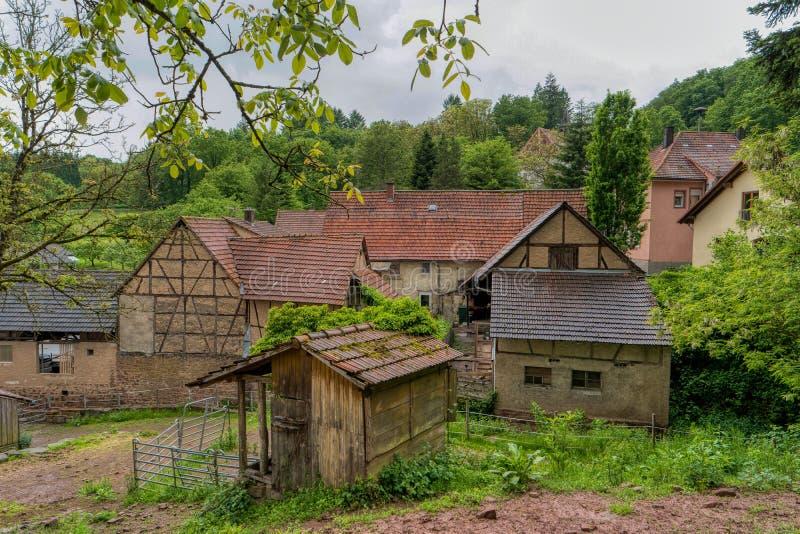Villaggio Neckarkatzenbach sulla traccia di escursione interurbana Neckarsteig fotografia stock