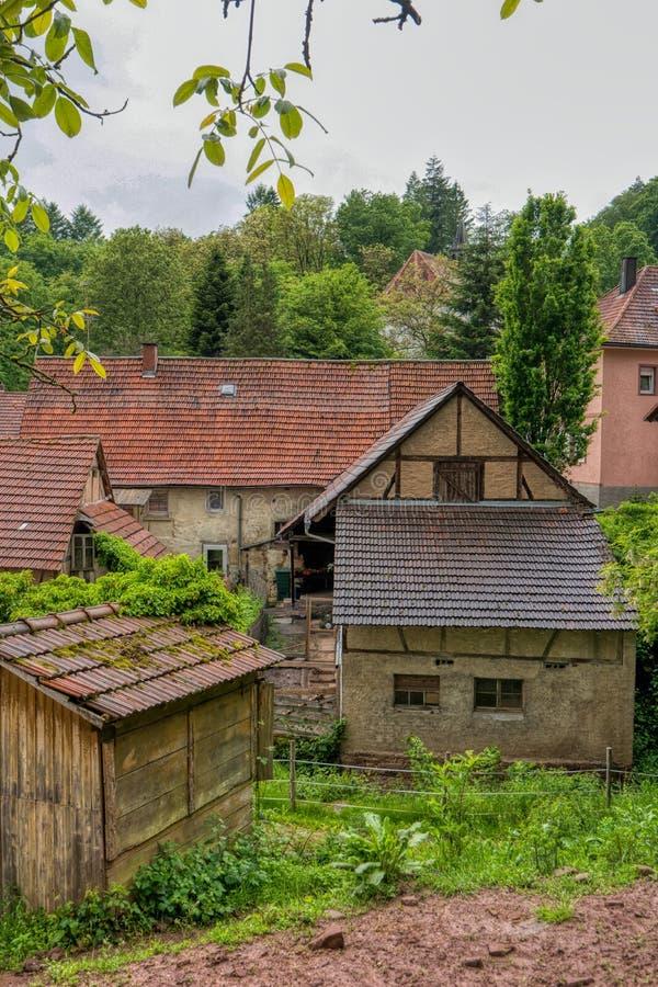 Villaggio Neckarkatzenbach sulla traccia di escursione interurbana Neckarsteig immagine stock libera da diritti
