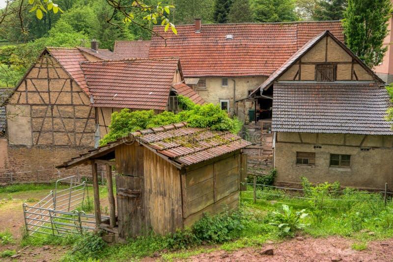 Villaggio Neckarkatzenbach sulla traccia di escursione interurbana Neckarsteig immagini stock