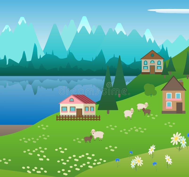 Villaggio nelle montagne alpine illustrazione vettoriale