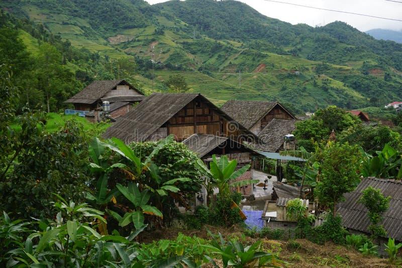 Villaggio noioso di divieto nel distretto di Sapa, Vietnam di nord-ovest fotografie stock libere da diritti