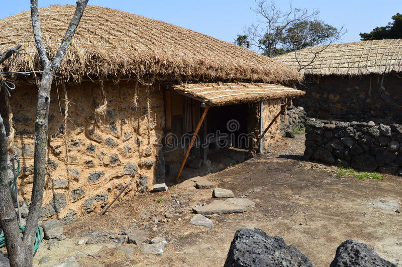 Villaggio piega di Seongeup, isola di Jeju, Corea immagine stock libera da diritti