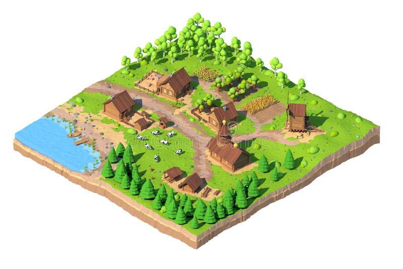 Villaggio poli basso isometrico, 3D rappresentazione, fumetto illustrazione vettoriale