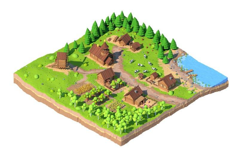 Villaggio poli basso isometrico, 3D rappresentazione, fumetto illustrazione di stock