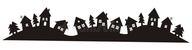 Villaggio, siluetta nera royalty illustrazione gratis