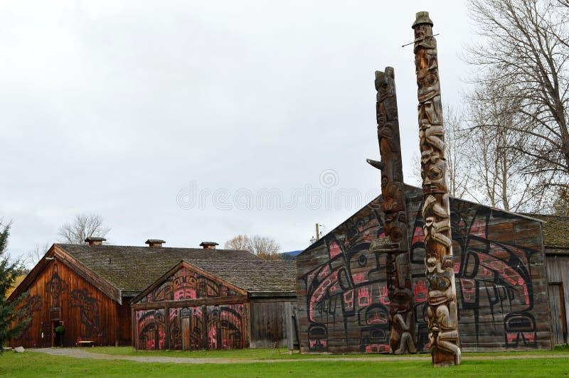 'Villaggio storico di Ksan vicino a Hazelton, BC fotografia stock