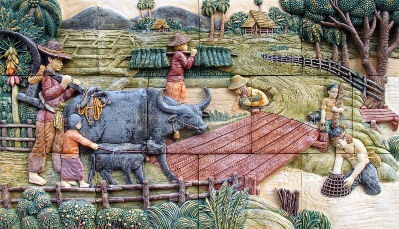 Villaggio tailandese del coltivatore, arte sulla parete fotografia stock