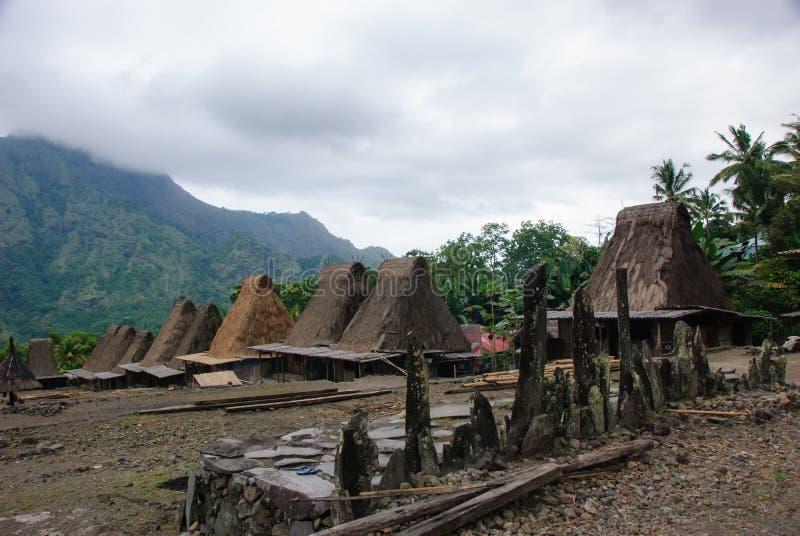 Villaggio tradizionale Bena sull'isola del Flores immagine stock libera da diritti